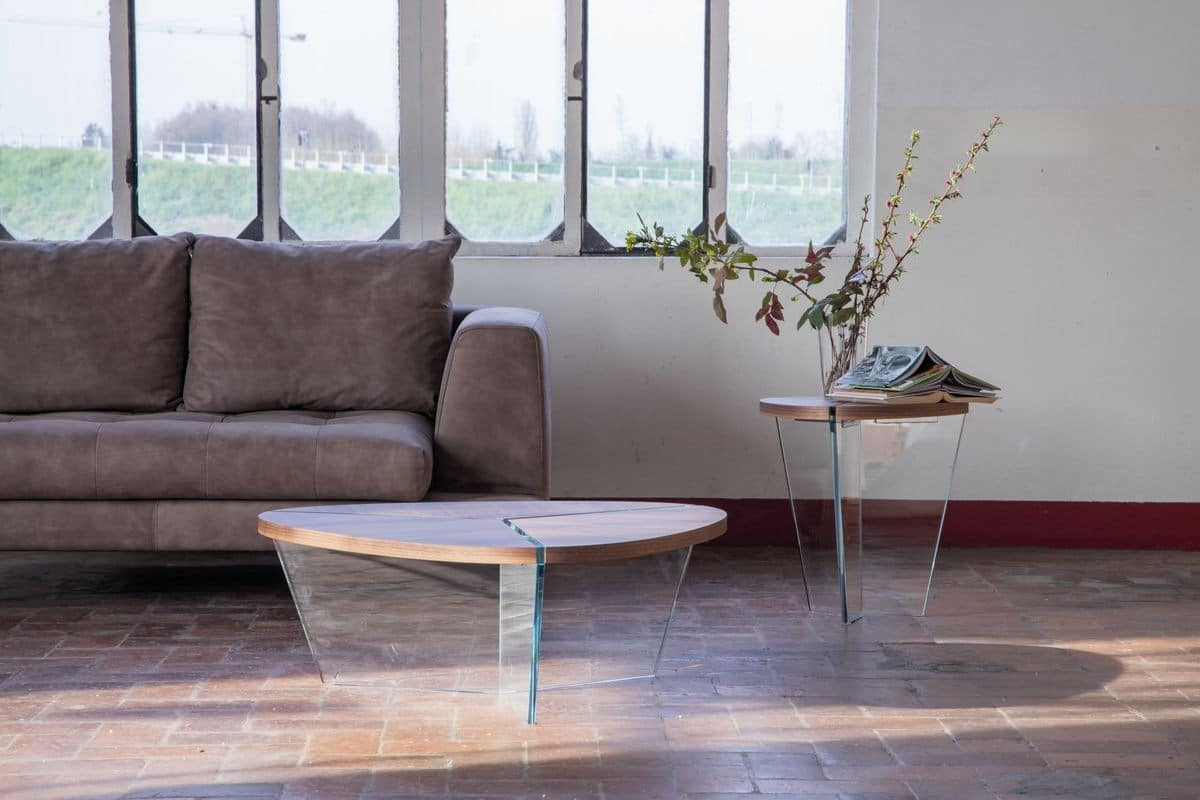 AIDA, Elegant coffee tables, in wood and glass, for living room