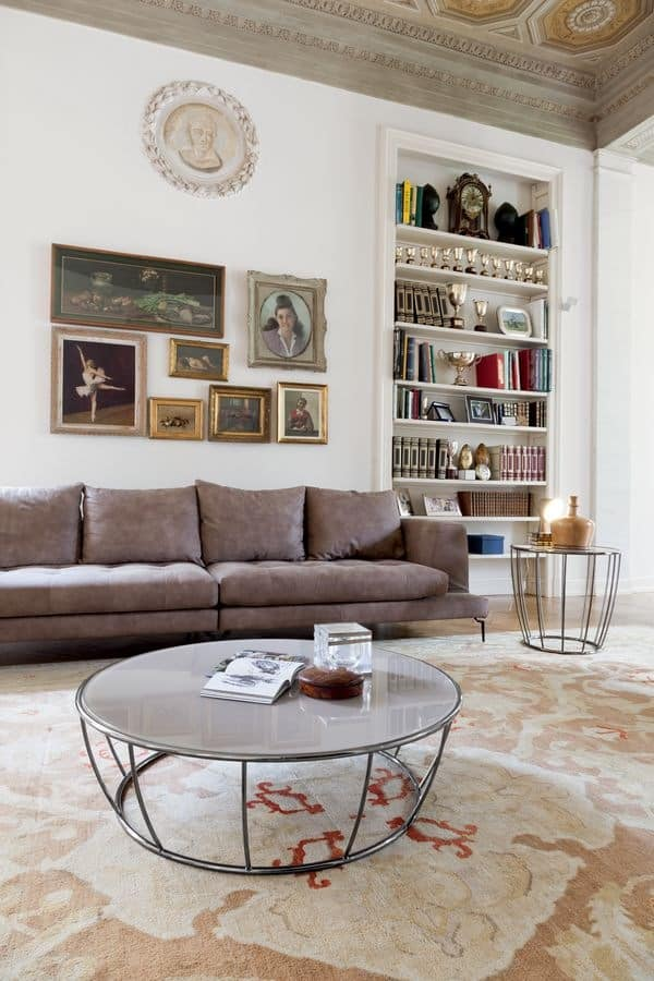 AMBURGO, Round coffee table, with glass top and metal structure