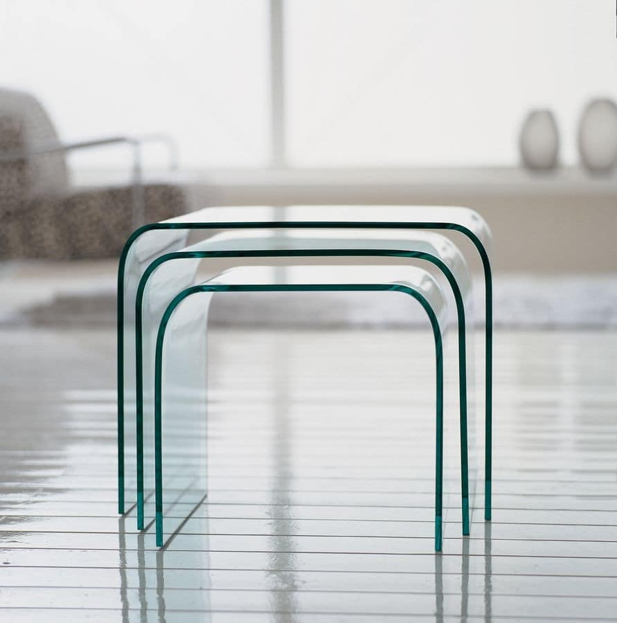 ANEMONE, Glass coffee tables for living rooms, modern design