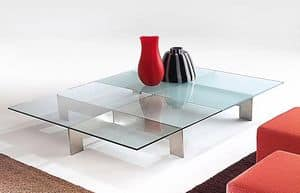 Bridge 2, Table for center hall, in steel and glass