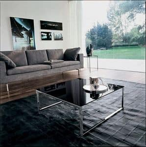 CENTRAL, Table with linear structure, in glass and metal, per suite