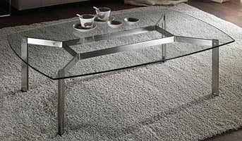 Haiti coffee table, Rectangular glass coffee table for living rooms, rounded corners