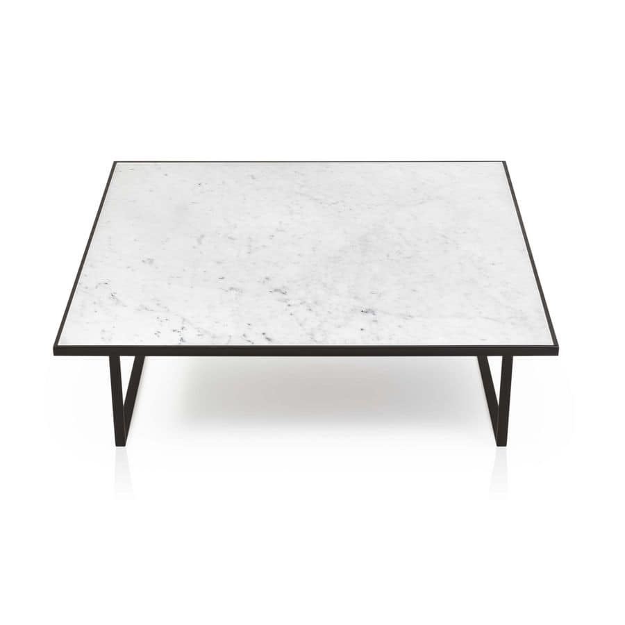 Icaro, Coffee table with minimalist aesthetic, with marble top