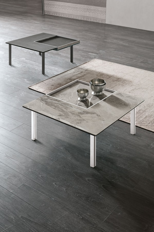 LEVELS M TL515, Square small table, with removable tray