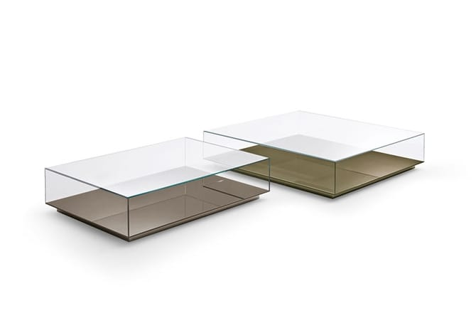 Miss Coffe Table, Modern Coffee Table For Center Room, In Glass, With Shelf