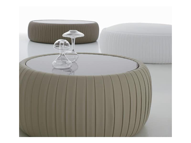 PLISSE' coffee table, Leather coffee table, round glass top, for sitting room