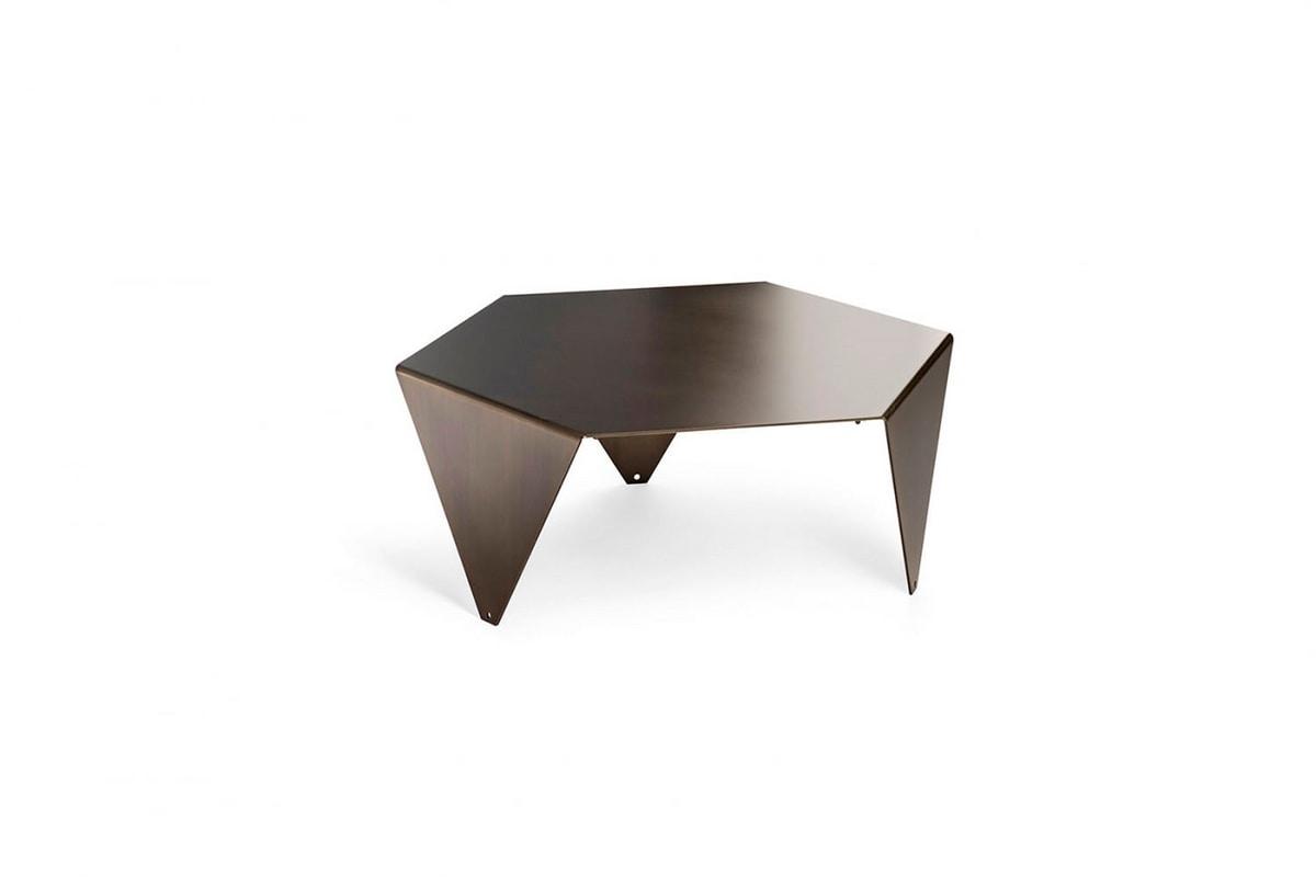 Ruche Metal G, Hexagonal coffee table in galvanized metal