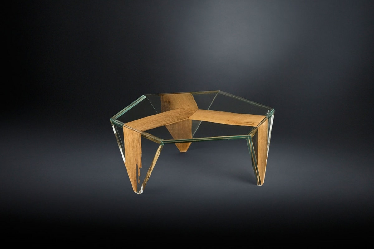 Ruche Venezia, Coffee table in glass and wood