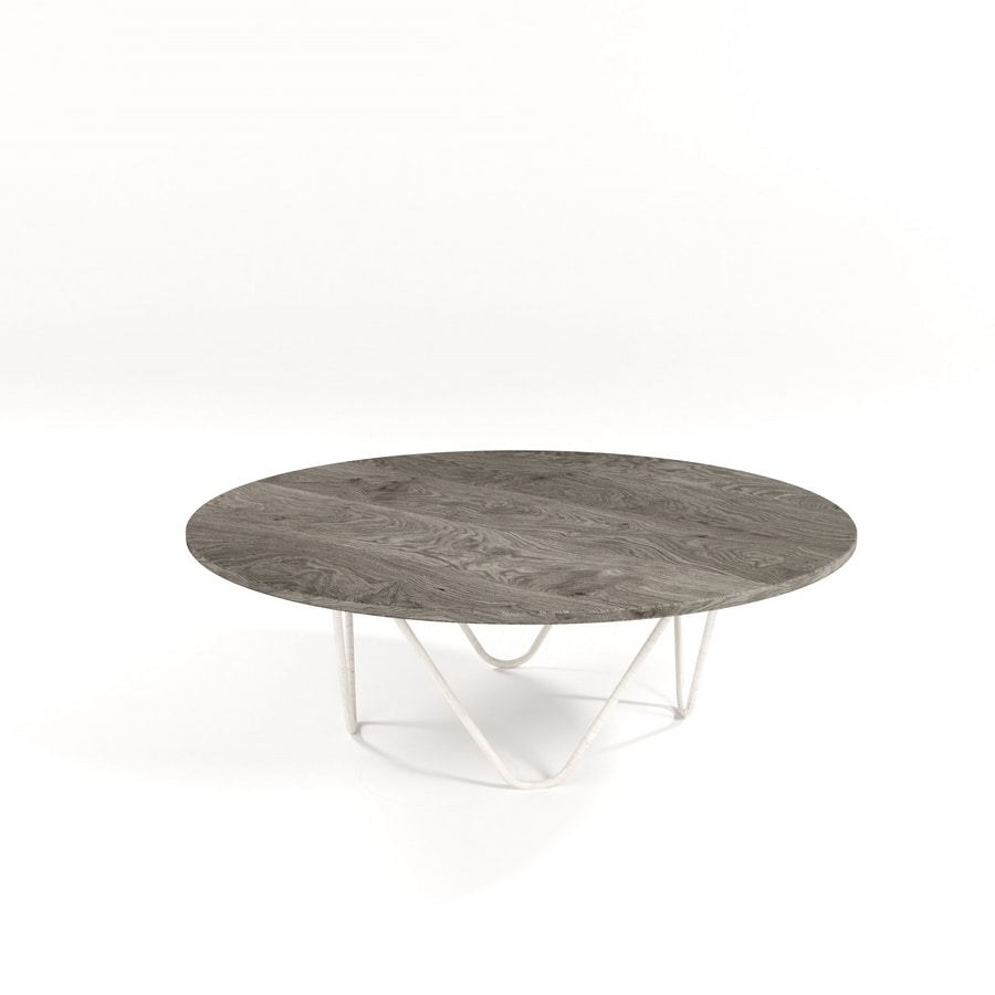 Suono, Modern coffee table with metal frame and glass top