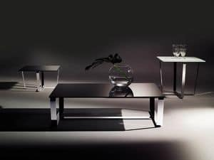 Sushi low table 1, Rectangular coffee table with laminated glass