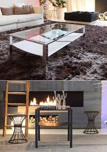 t28 admiral, Coffee table with two tops made of glass and leather