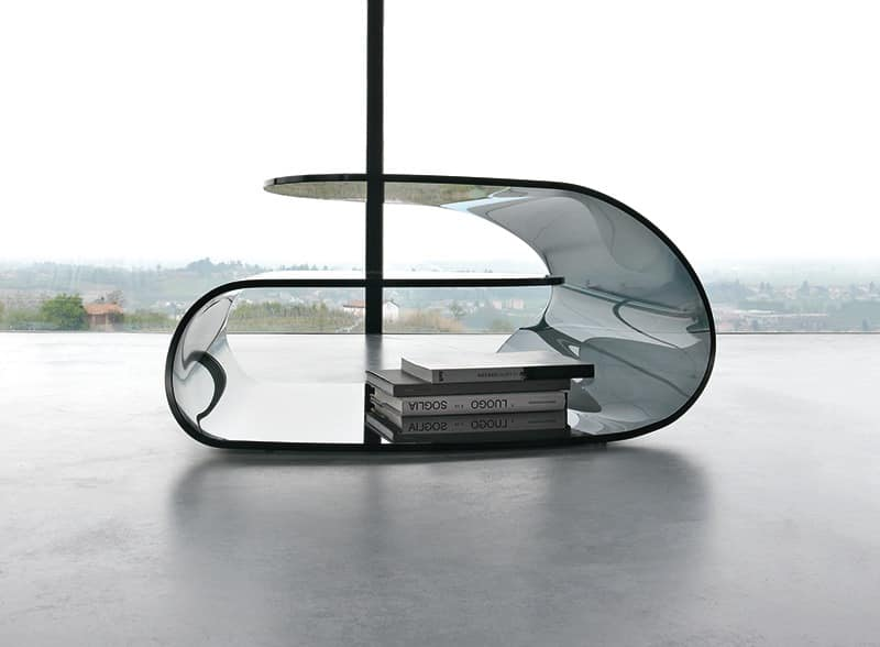 VOLUP, Coffee table in curved glass, high-quality workmanship, office