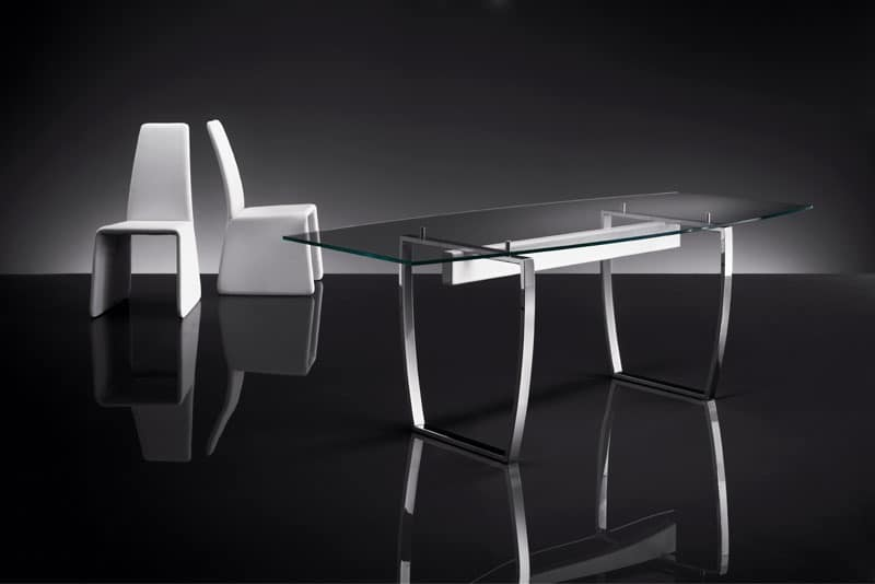 ART. 258/F DIAMOND TABLE, Tables with metal base, transparent glass top