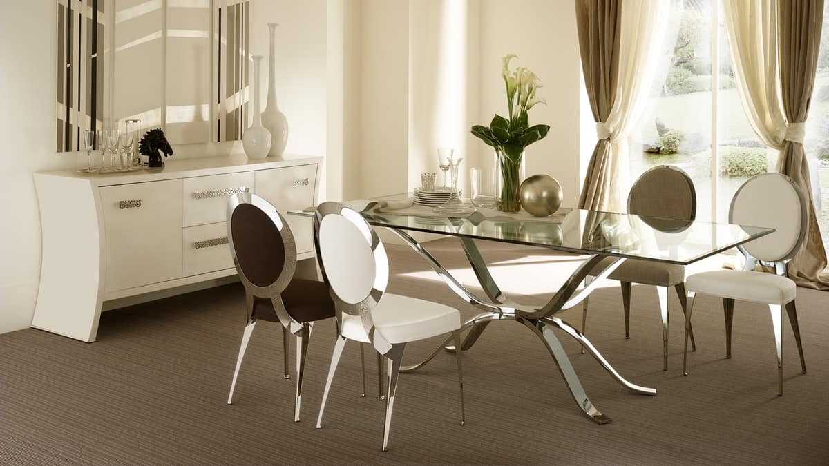 Atlante tavolo, Table in hand-polished iron, glass top