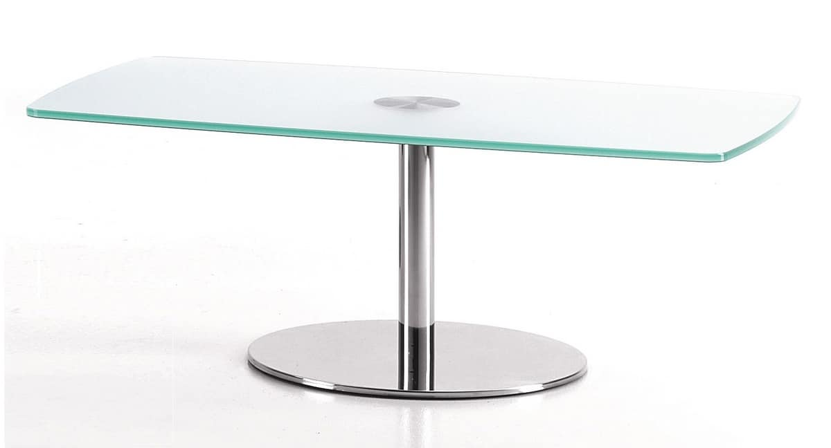 BASIC 854 C, Rectangular table with metal base and glass top