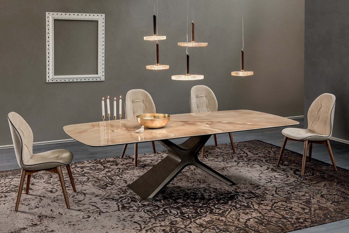 CALLIOPE XXL, Table with painted steel structure, glass or ceramic tops