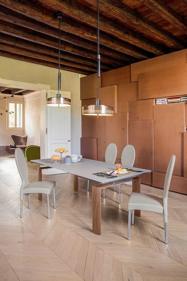 CANNAREGIO, Elegant dining table, extendable, in glass and aluminum