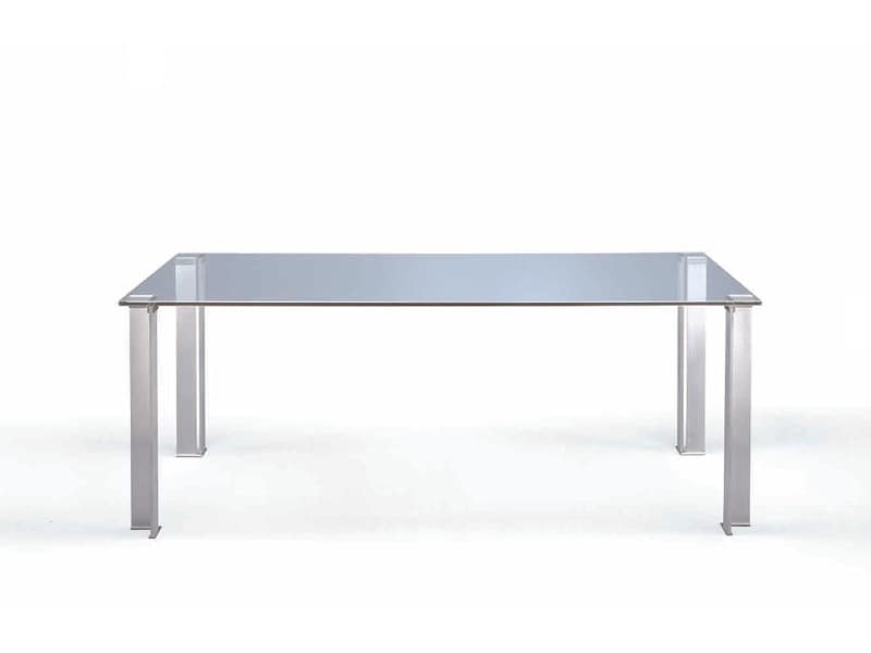Crono, Dining table with clear glass top
