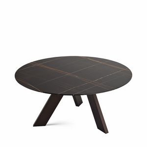 Fix, Oval design table with glass top, with 3 legs