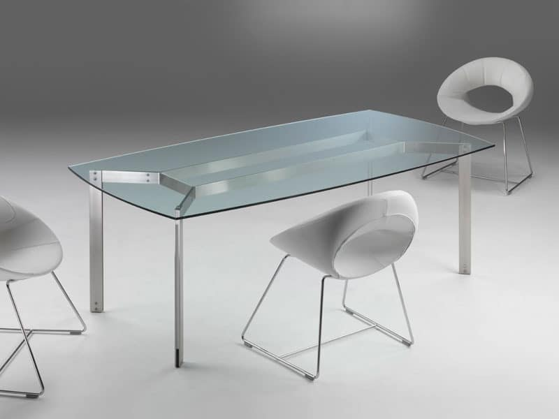 Haiti, Dining table with clear glass top, chromed structure