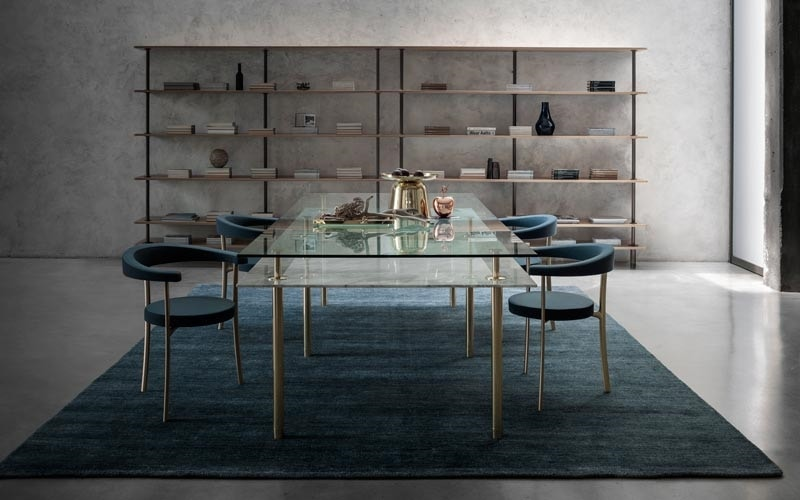 Legs Dining Table, Crystal and brass table