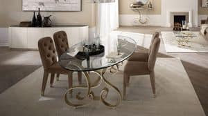 Mir� tavolo, Table in curved iron, transparent glass top