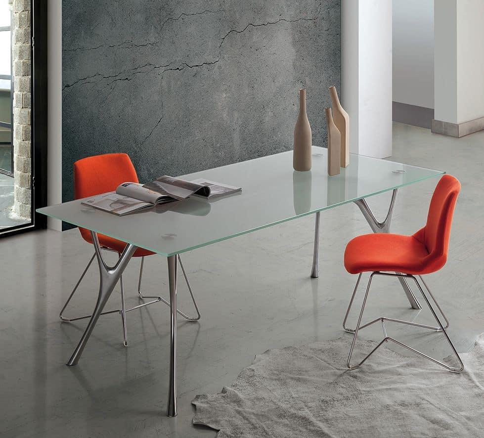 Pegaso 2, Table aluminum design with transparent glass top
