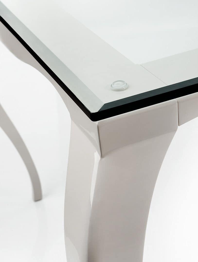 Raffaello 2 table, Table with aluminum legs, top in transparent glass