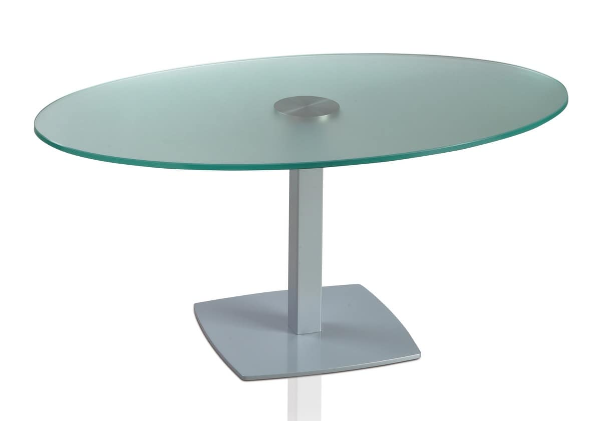 TOTEM 423 C, Oval table with metal base and glass top