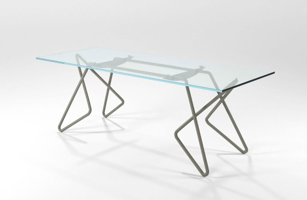 Vittoria, Rectangular table in chrome tubular with glass top