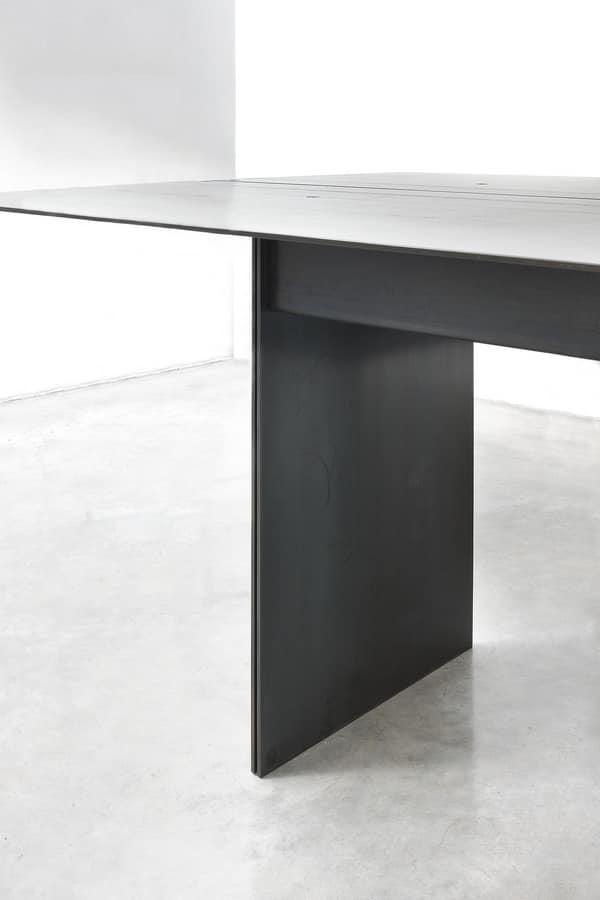 262/F STEEL, Elegant Table, In Metal Coated Wax