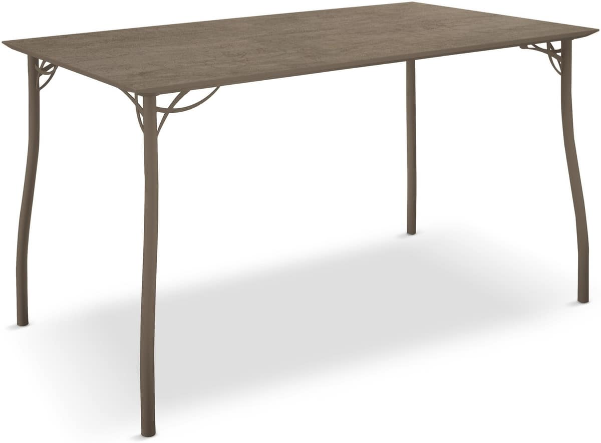 Jack table, Iron table with rectangular wooden embossed top