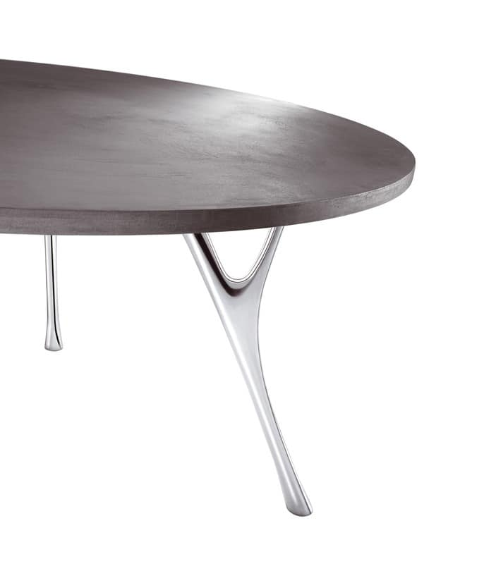 Pegaso cement, Large rectangular table with finishes in cement