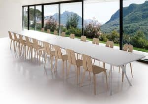 Pegaso solid, Long table in polished aluminum and resin top