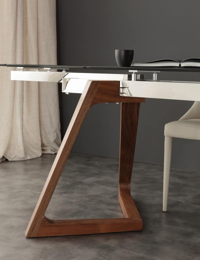 Art. 647 Gaudì, Table with glass top, extendable