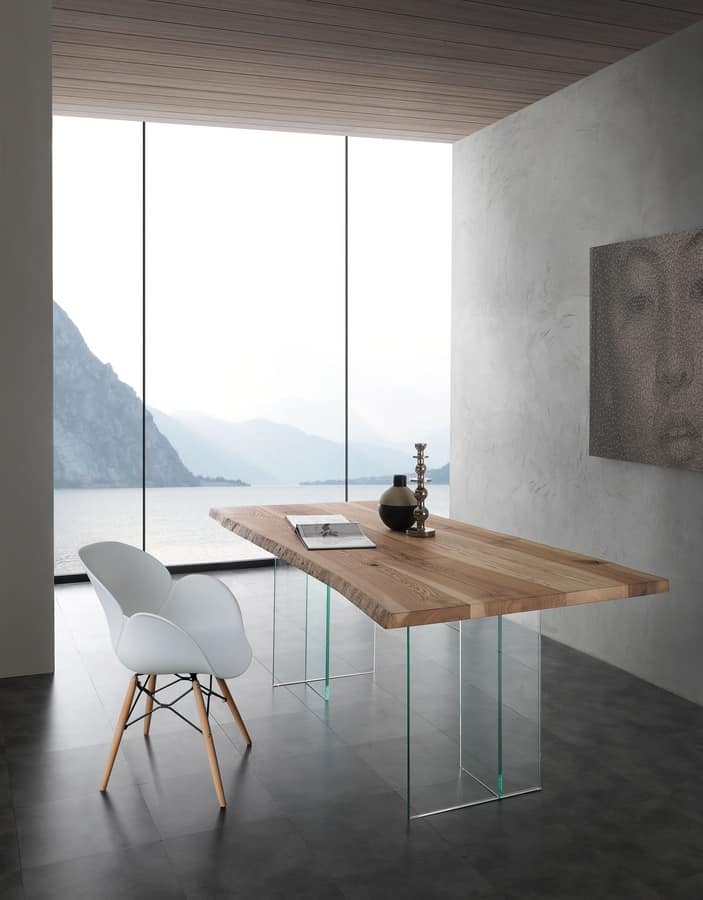 Art. 704VE Bio-Glass, Table with glass legs, top in solid ash wood