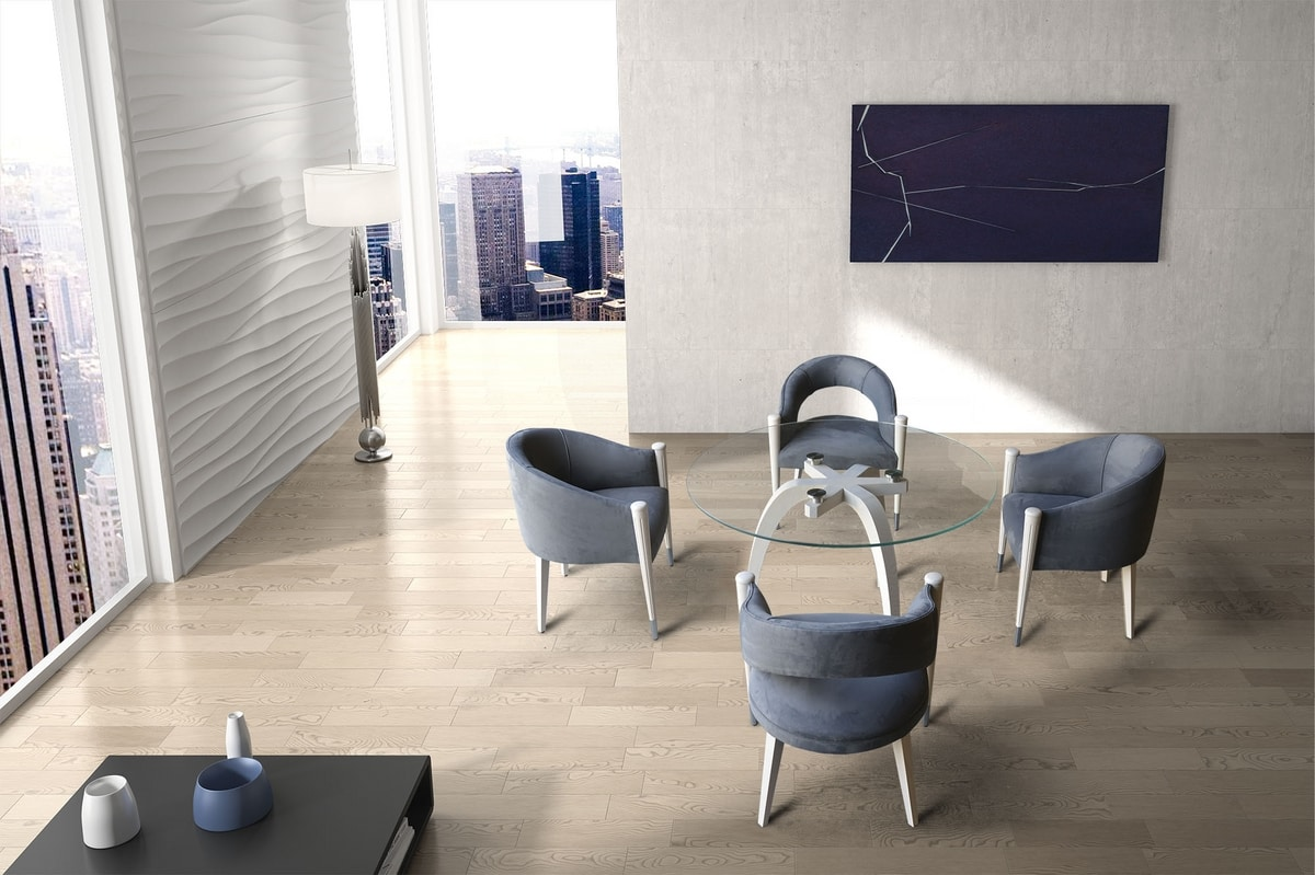 BS604T - Table, Solid wood table with glass top