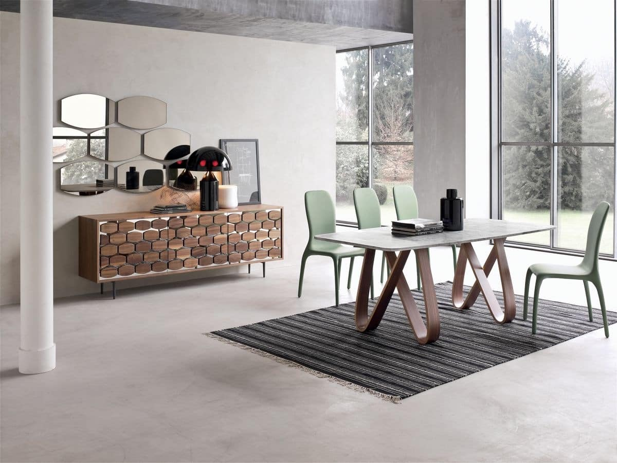 BUTTERFLY, Extendable or fixed table, with glass, wood, marble or ceramic top