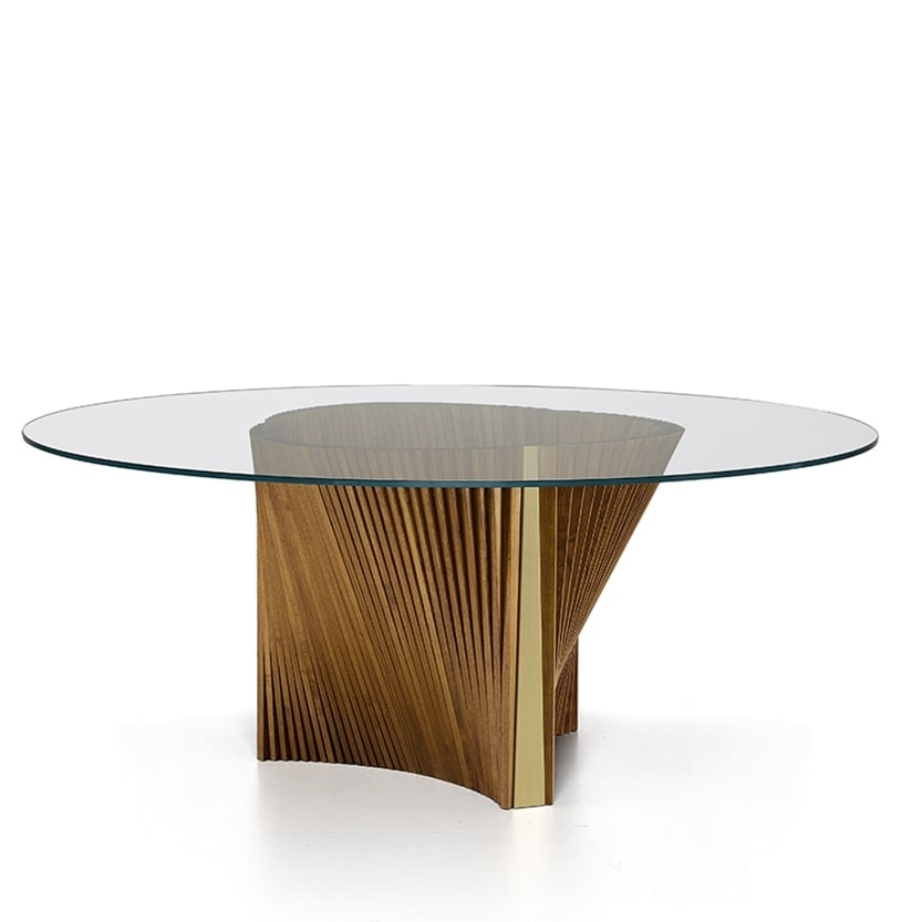 Clover Reverse, Table with round glass top