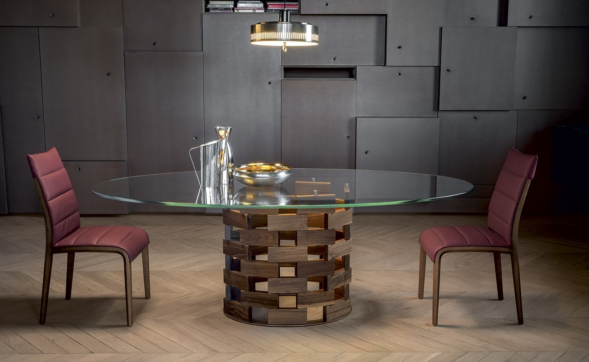 COLOSSEO, Fixed or extendable table with base in round or elliptical solid wood