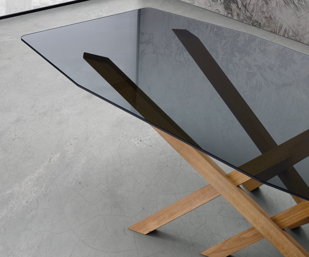 Cross, Table with elegant oak base