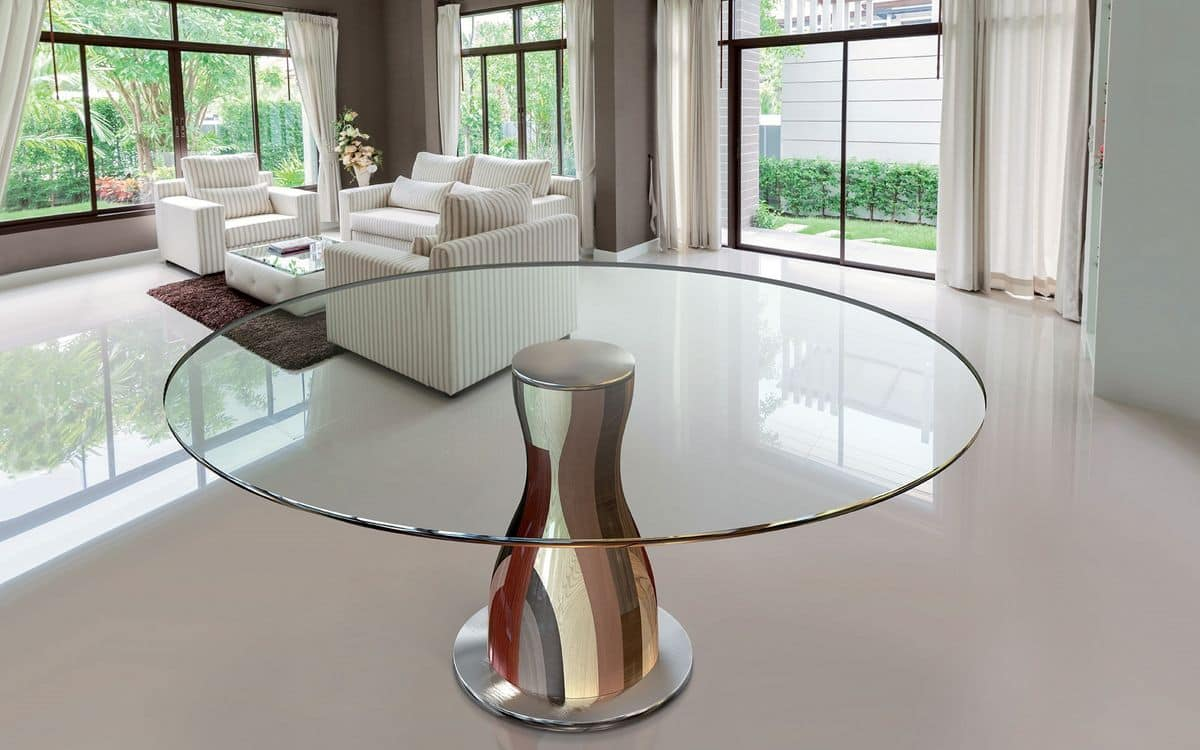 NARCISO 1.2, Round table, glass top, solid handcrafted wood structure