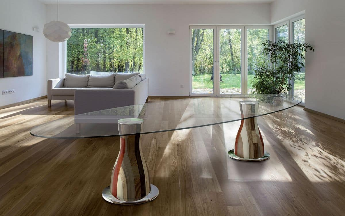 NARCISO E3.0 OVAL, Oval table, 2 wooden bases, glass top