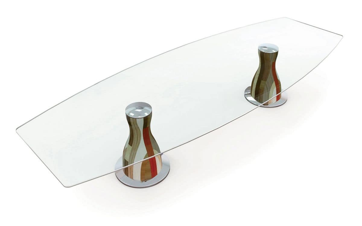 NARCISO E3.0 SQUARED, Design table, wood and glass, ideal for modern linear dining rooms