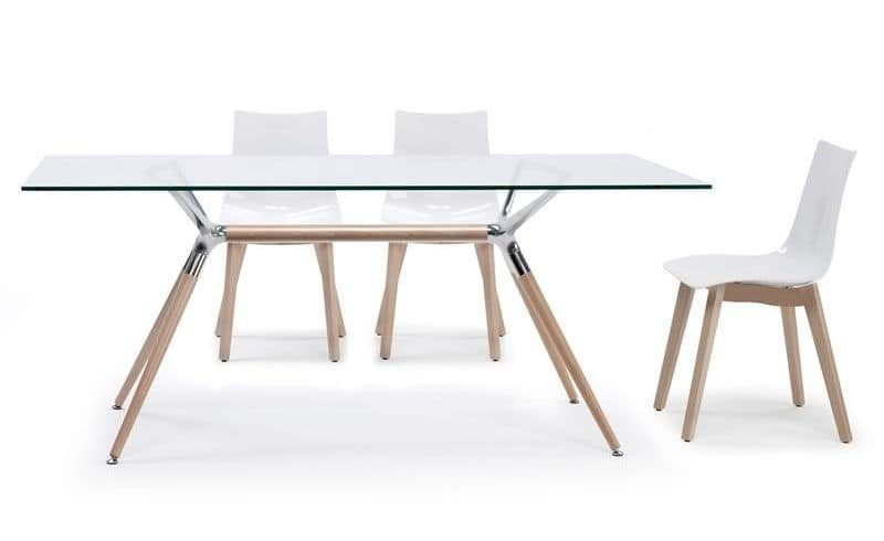 Natural Metro, Rectangular design table, wood structure and glass top