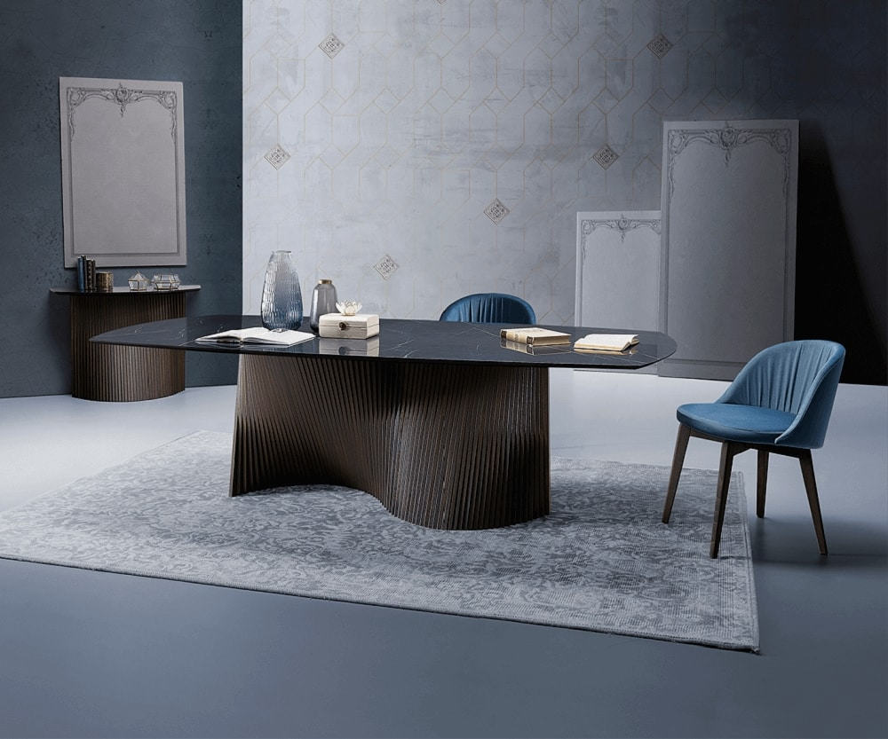 Orbit, Table with sinuous wooden slat base
