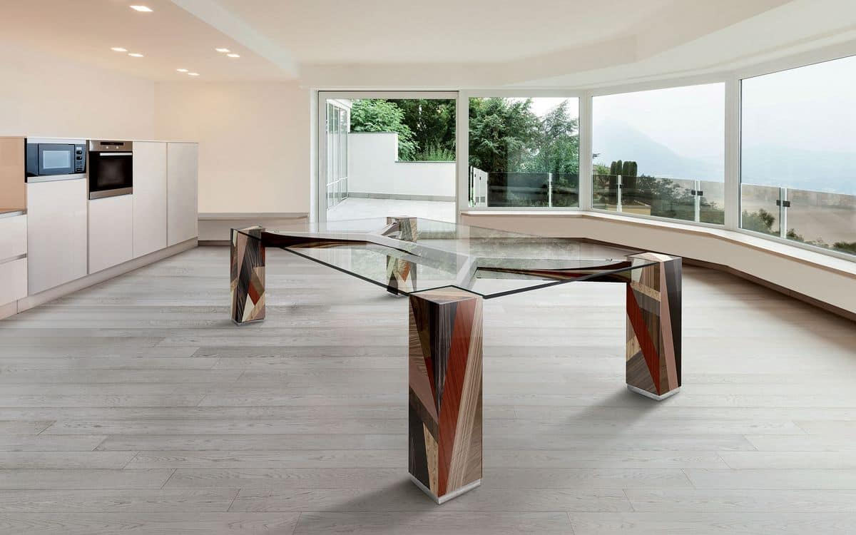 ORFEO 2.5, Rectangular table, glass top, solid wood legs