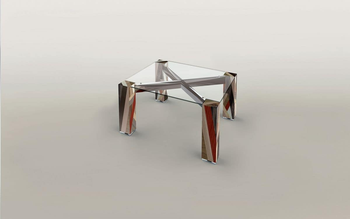 ORFEO, Square table, glass top, wooden structure