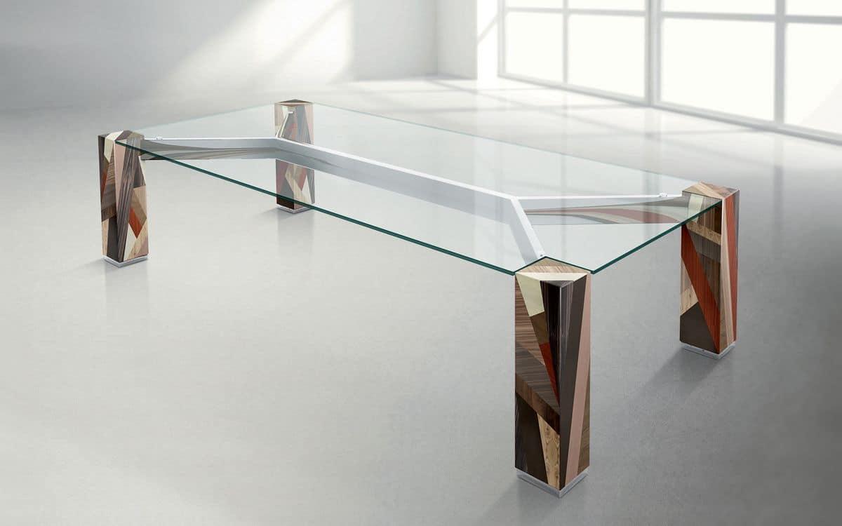ORFEO R3.0, Solid wood tabl, rectangular crystal top