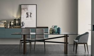 Plinto, Table with glass top